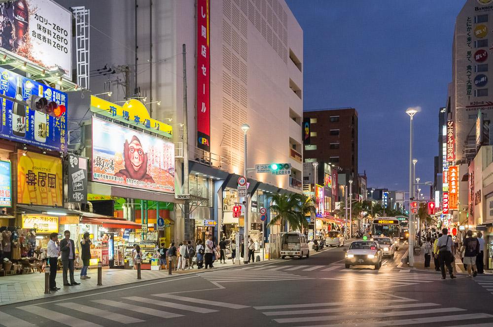 Naha at Night at the corner of Starbucks on Kokusai Street. - Okinawa, Japan. - Fuji x100.