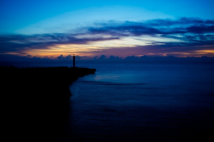 Sunset at Zanpa Point in Okinawa.