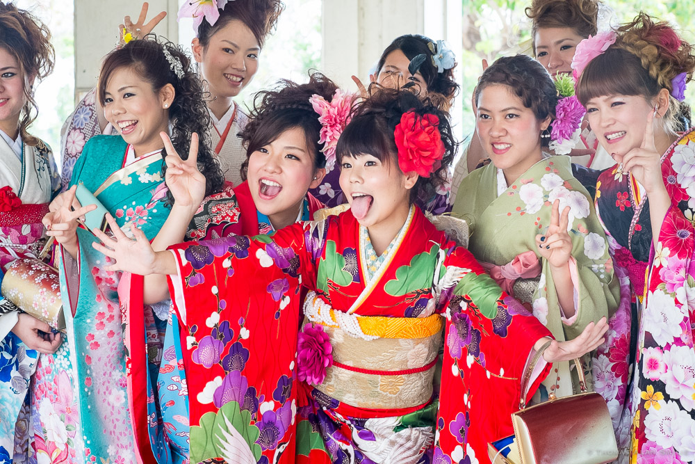 A group of young women pose for a photo at The Coming of Age Day ceremony in Yomitan, Okinawa Japan.