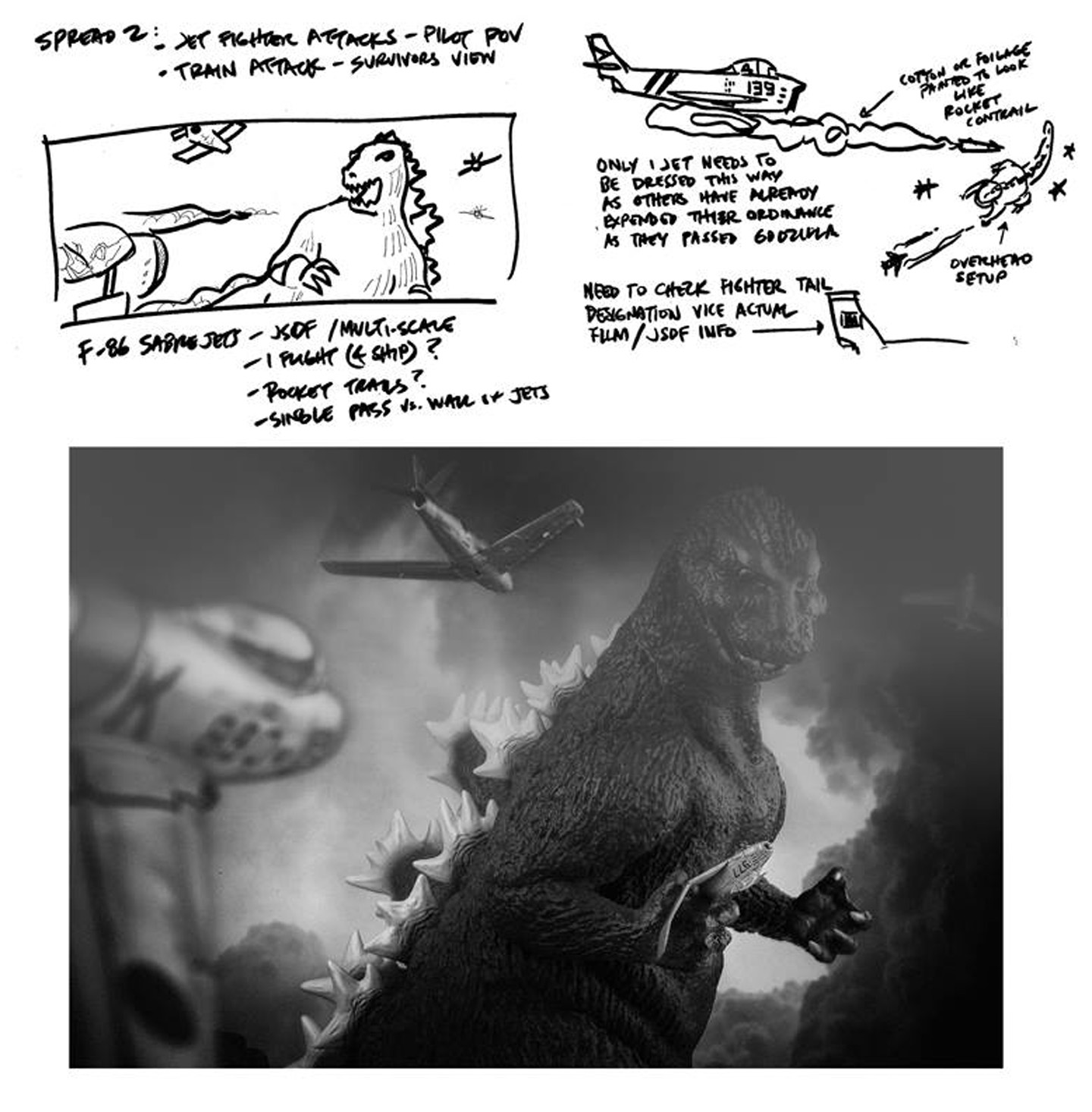 Henry's original  schematic along with one of the final shot based on the sketch.