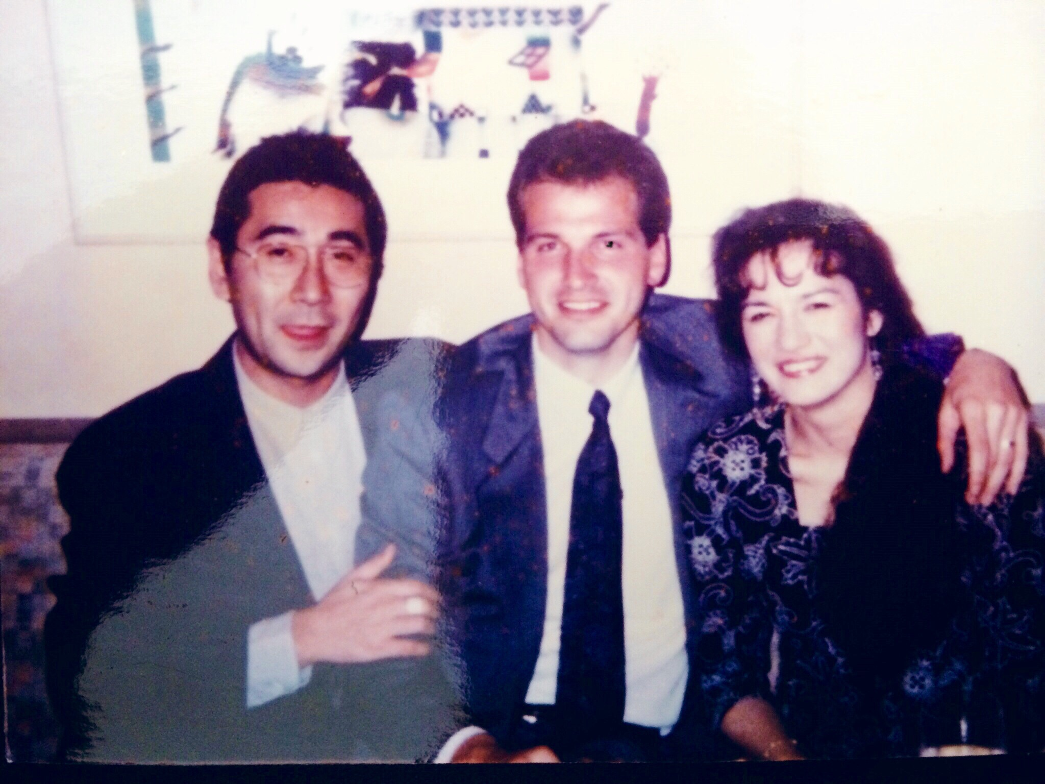 From left: My friend Ono-san, myself, and my wife in Ono-san's restaurant in Roppongii. Circa: 1992.