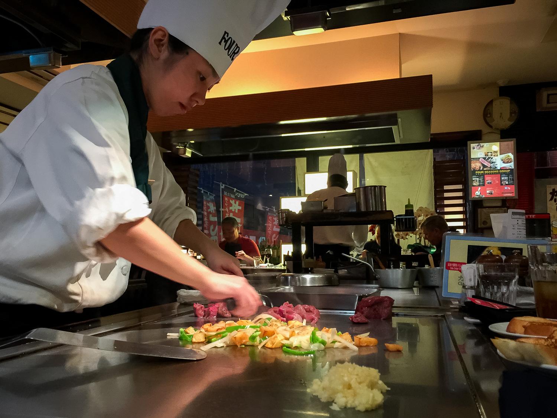 Teppanyaki at Four Seasons in Awase, Okinawa. Apple iPhone 6 Plus ISO 125, f2.2, 1/10 sec