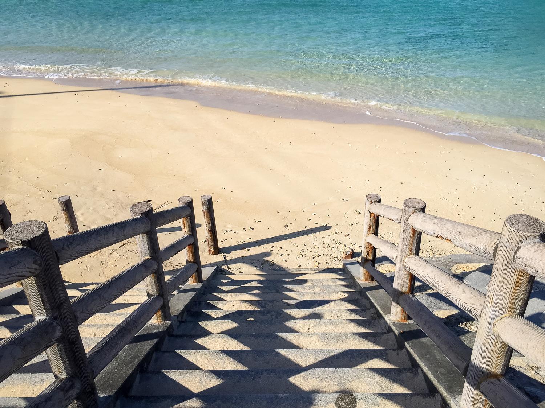 Stairs to te beach at Kadena Marina in Okinawa, Japan. iPhone 6 Plus ISO 32, f2.2, 1/20  00 sec. Edited with Lightroom Mobile.