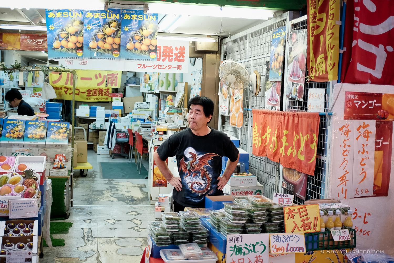 Okinawa Shop Keeper in Naha, Okinawa Japan. Fujifilm x100T, ISO 400, f/2.0, 1/105 sec, Fujifilm chrome film emulation, edited in Adobe Lightroom 6.