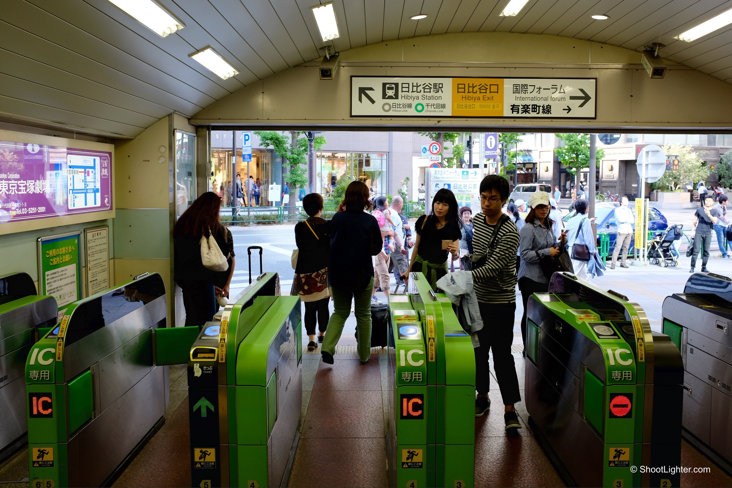 Hibiya exit at Yurakucho station. Fuji x100T, ISO 400, f/4, 1/90 sec. No edit. Straight out of camera.