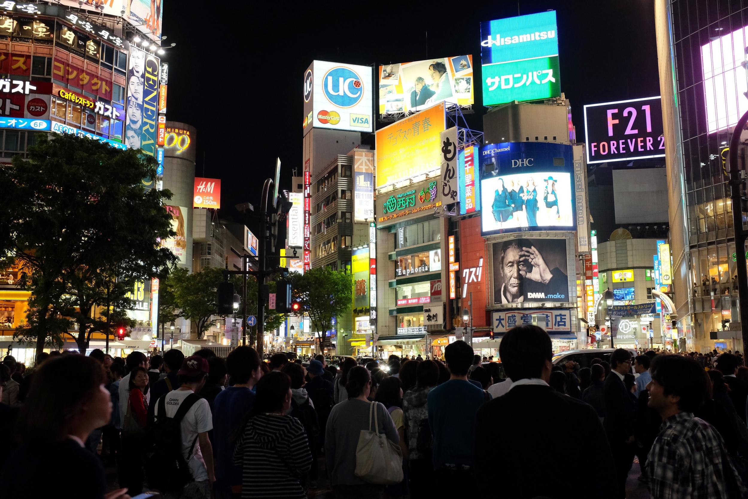 Shibuya, Tokyo. Fujifilm x100t, ISO 2000, f/4, 1/60 sec. No edit. Straight out of camera.