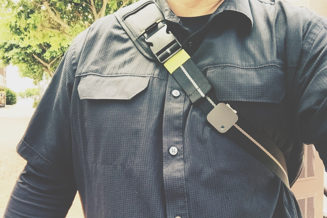 Me with my  Narrative Clip  attached to my bag strap.