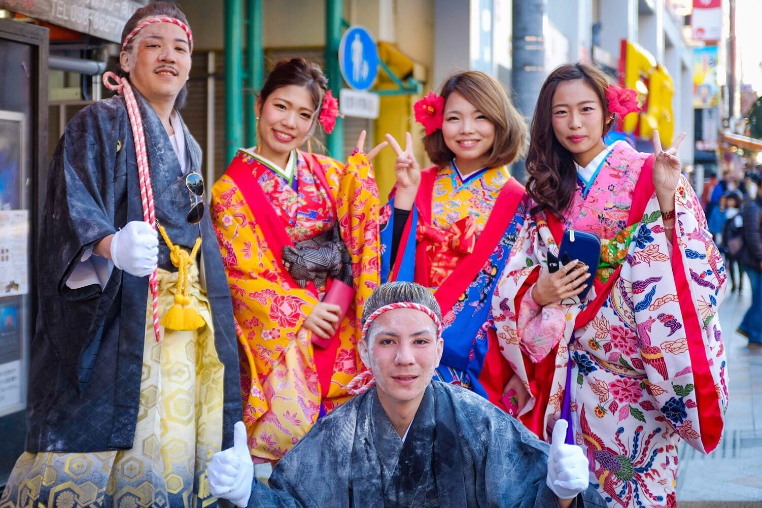 Young people in Naha, Okinawa celebrating Seijin no Hi, Coming of Age Day. Fuji x100s.