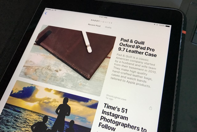 ShootLighter news post as they appear in the News app on iPhone or iPads running iOS 9 or newer.