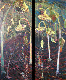 Five- Fold Diptych oil and tar on linen 2003