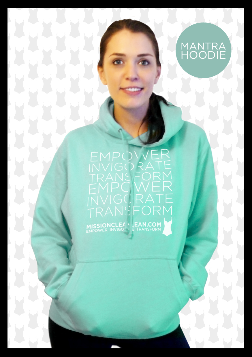 'Empower, Invigorate, Transform' is the mantra we live by. Bring it to life in this top quality hoodiein gorgeous peppermint green. Made from80% cotton/20% polyester and washable at 40C it hasa bunch of features such as ribbedcuffs and hem and a hidden opening for earphone cord feed in the front pouch pocket.  Available in sizes S or M (10-12 or 14-16)  £30 plus £4.50 p&p