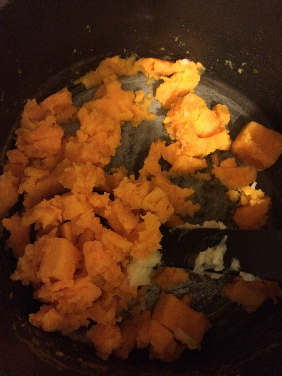 Peel and chop two sweet potatoes then gently boil until soft and mash with coconut oil