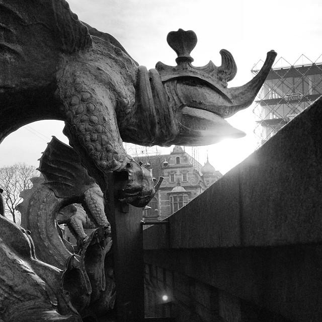 Danish #dragons protecting #rådhuset #copenhagen #blackandwhite #insta_bwgramers