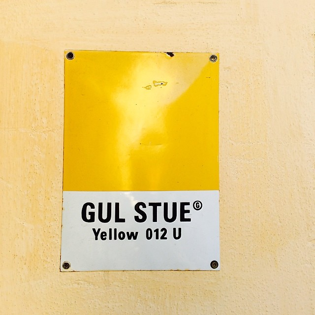 Colour swatch nailed to wall on #Kompagnistræde #copenhagen - #pantone #colour #color #yellow