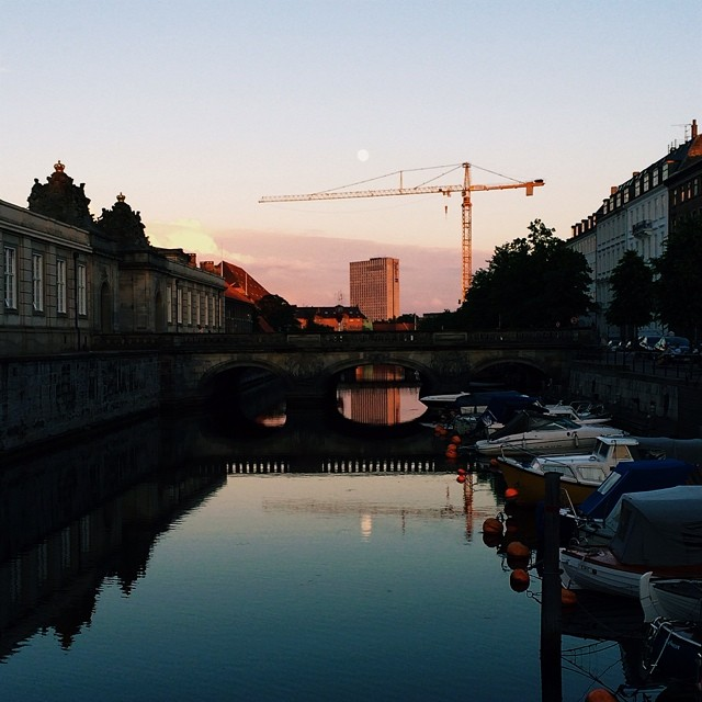 #christiansborg and the #moon in the #canal - #copenhagen #reflections #sunset #vscocam