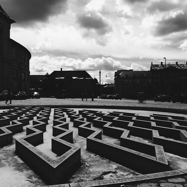 High drama in #blackandwhite over #copenhagen #fountain #clouds