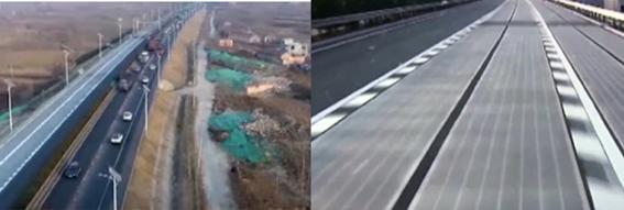 Pour ce qui est des routes du futur,   la Chine dépasse désormais la France. À environ 400 kilomètres de Pékin     ,     dans la province du Shandong, les automobilistes roulent à présent sur une portion d'autoroute particulière. Sa chaussée produit de l'électricité. Deux kilomètres de voies, traversant la ville de Jinan, ont été équipées  de  dalles photovoltaïques .    L'installation réalisée par la société Qilu Transporation Development Group, est censée produire annuellement 1000 mégawatt heures (MWh) d'électricité. De quoi alimenter, selon ses concepteurs, environ 800 foyers chinois en énergie. Concrètement, 5875 mètres carrés de panneaux photovoltaïques      miniaturisés ont été installés sur un matériau isolant avant d'être recouvert d'une couche de béton transparent  . Bull BTP
