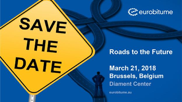 La journée du Bitume et de l'Enrobé se tiendra le 21 mars 2018 à Bruxelles. Elle aura comme thème «Roads to the Future ». Cet événement est organisé par Eurobitume et l'Association Belge des Producteurs d'Enrobés (ABPE/BVA). Les participants de l'industrie du bitume et de l'enrobé, les autorités routières (locales et gouvernementales) et les entreprises de services, comme les laboratoires et les consultants, sont les bienvenus     Pays-Bas : Intertraffic