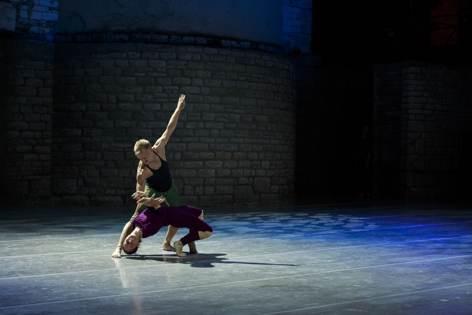 MIchael Trusnovec and Eran Bugge in rehearsal for Paul Taylor's  Airs  at the Teatro Romano in Spoleto, Italy.