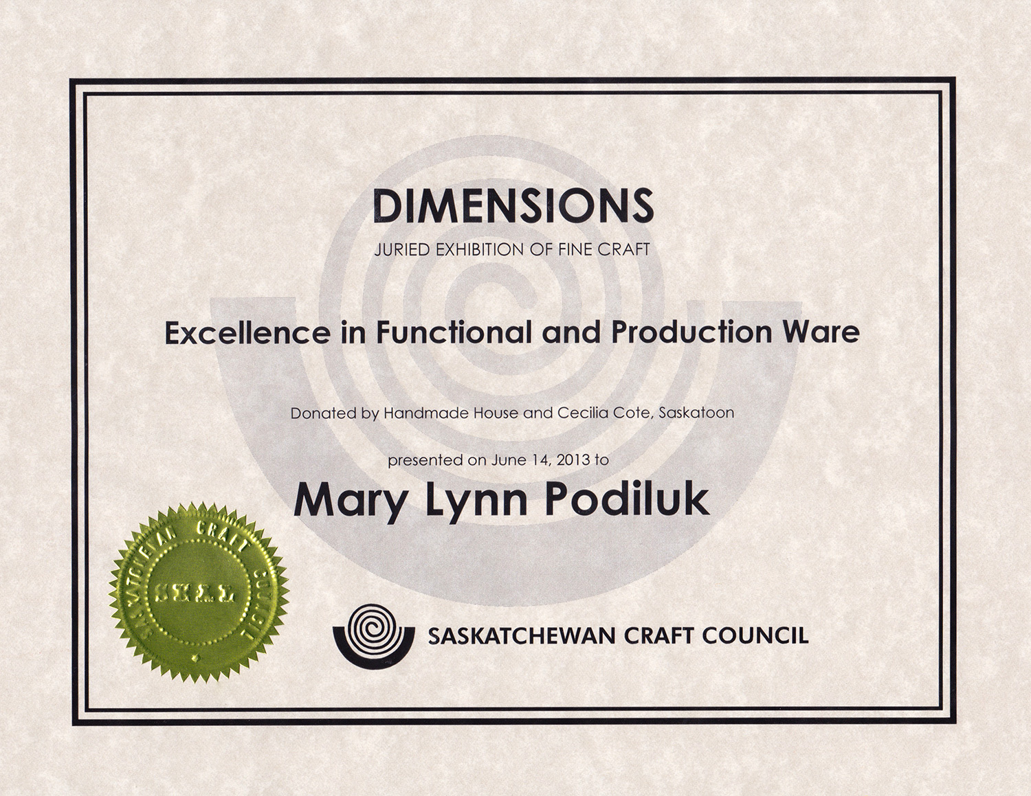 Award for Excellence in Functional & Production Ware, 30th Biennial Dimensions Exhibition, Saskatchewan Crafts Council, SK