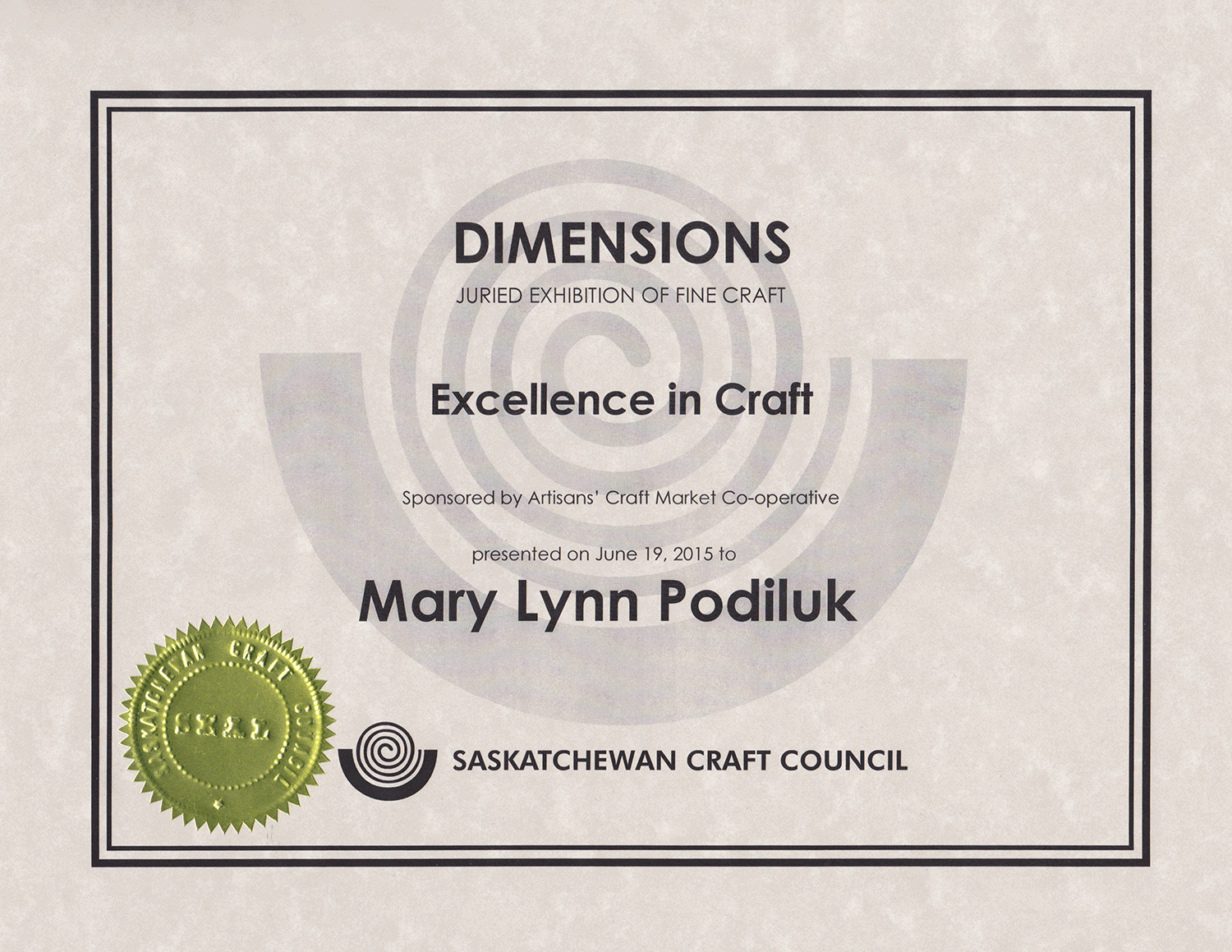 Award for Excellence in Fine Craft, 31st Biennial   Dimensions   Exhibition, Saskatchewan Crafts Council, SK