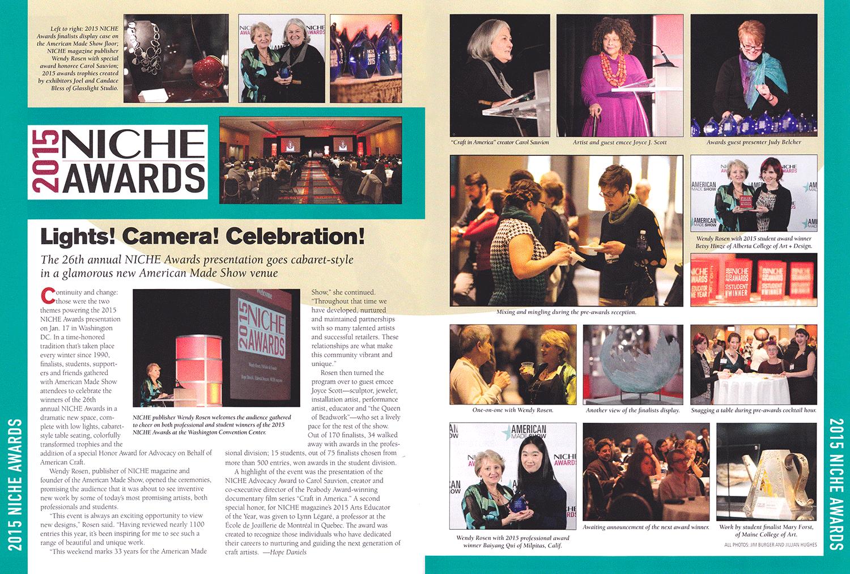 """Lights! Camera! Celebration!"".  NICHE  : Volume 27, No. 2. 2015. 36-37. Print."