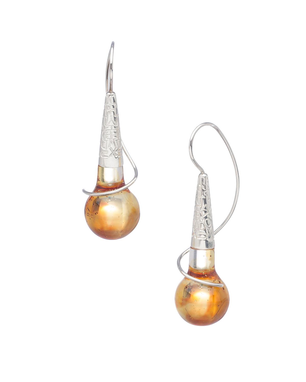 TONE  Earrings   2015   Mary Lynn Podiluk Sterling silver, dyed resin 5H x 1.5W x 2D cm