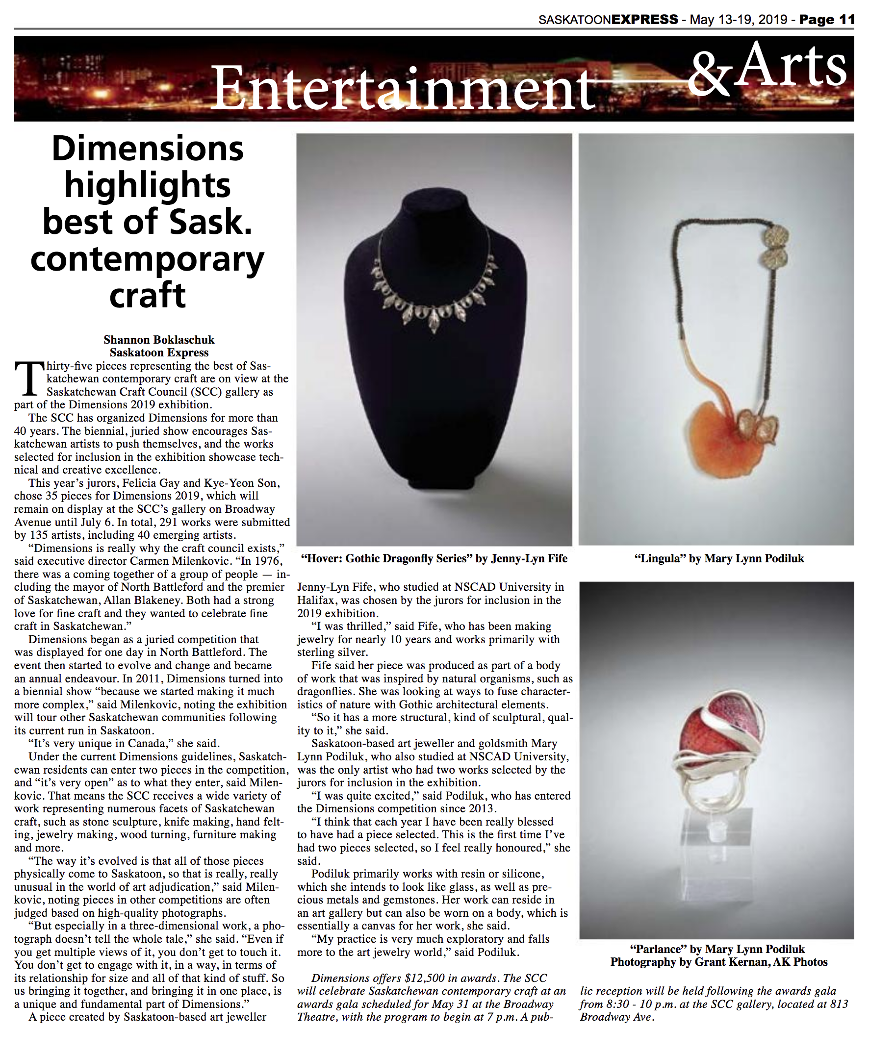"Saskatoon Express. Shannon Boklaschuk. ""   Dimensions Highlights Best of Sask. Contemporary Craft   ."" 15 May. 2018: p. 11. Print."