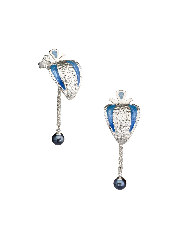 Argot - EarringsSterling silver, freshwater pearls, dyed resin4.2H x 1.5W x 2D cm