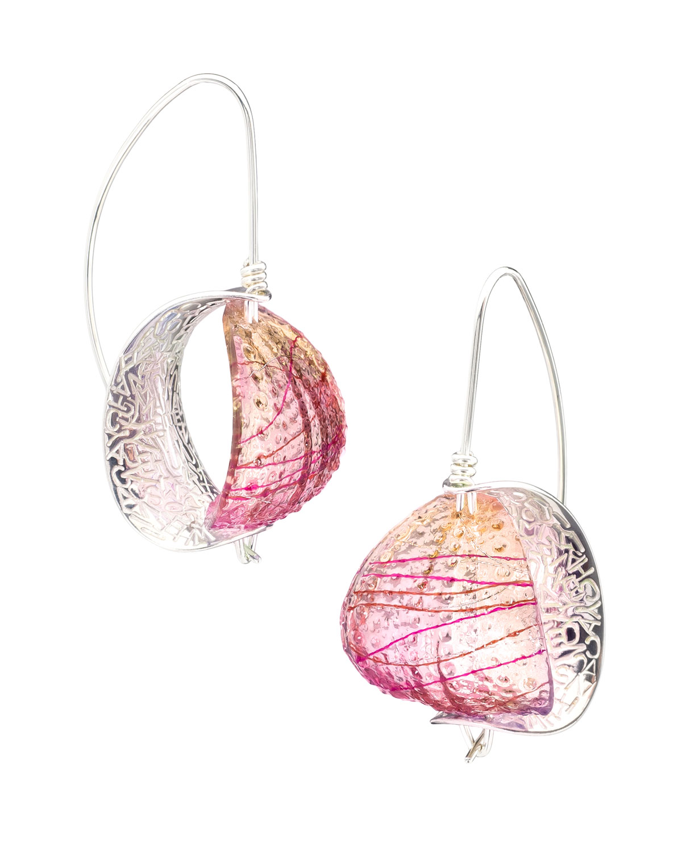 Retroflex - Earrings (large)Silver, dyed resin, thread5H x 2.7W x 2.5D cm