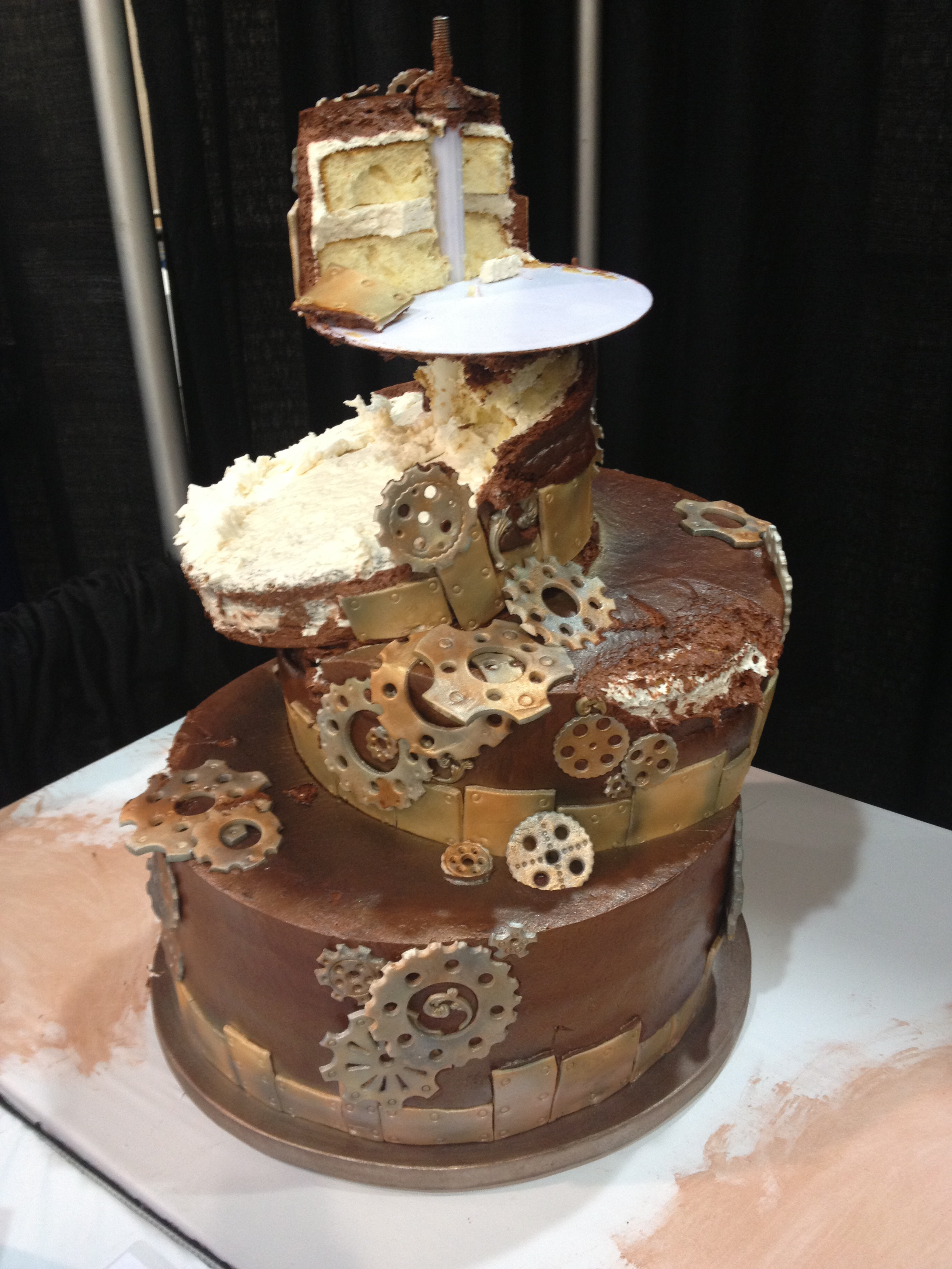 Steampunk cakes are designed to look broken.