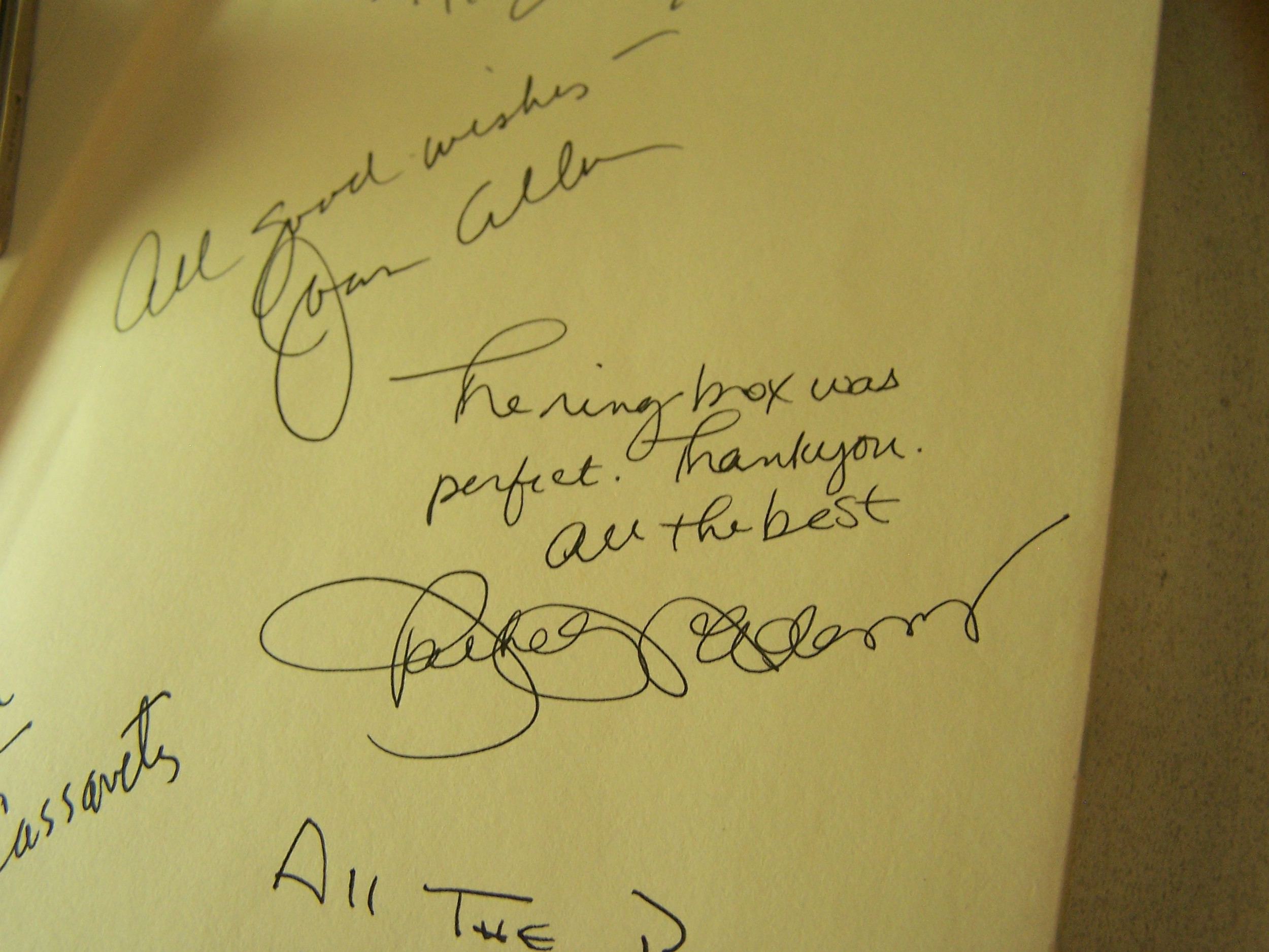 Rachel McAdams and Joan Allen's signatures along with other cast members... Priceless!