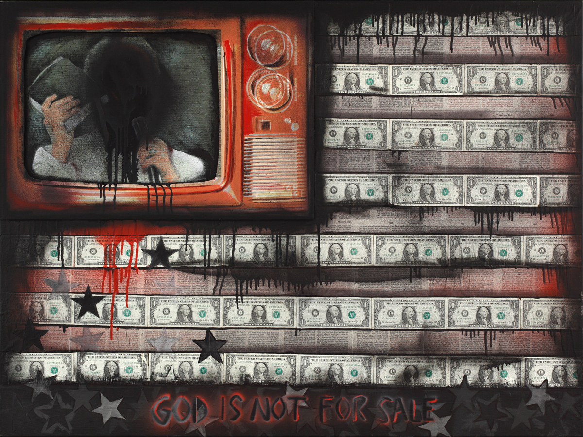 God is not for sale  -  Mixed Media on Canvas  ( 30x40 )