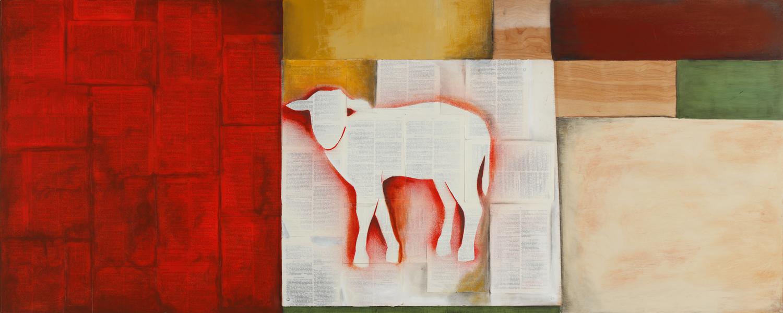 The Lamb - Mixed Media on Wood ( 45X18 )