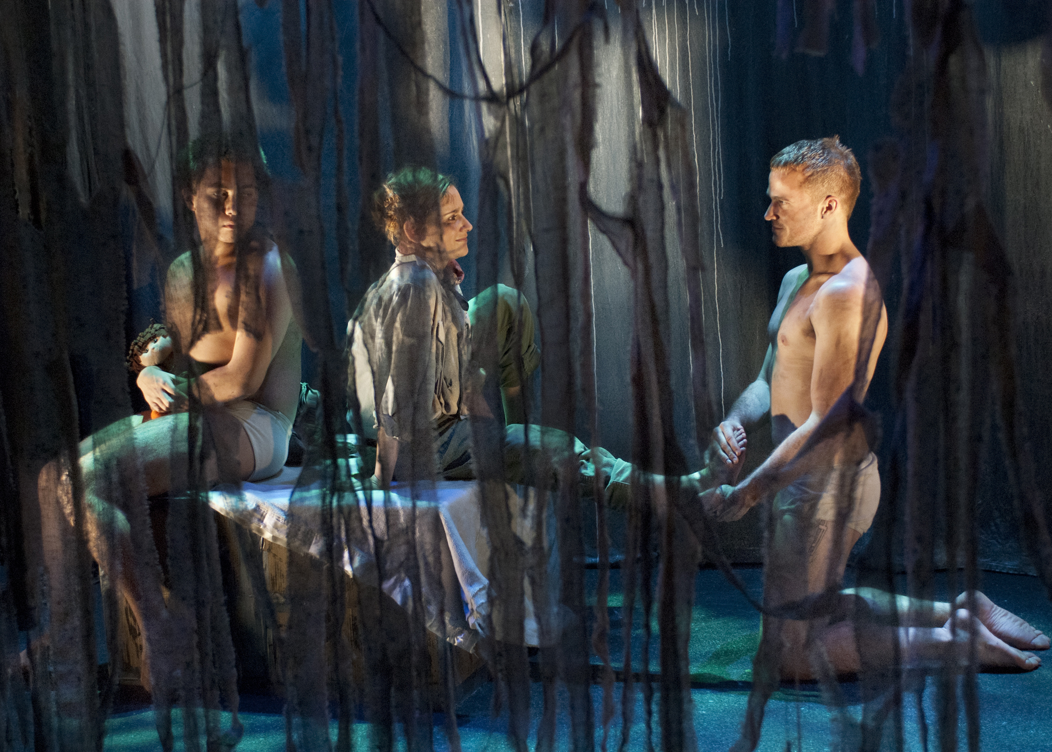 Costume     Design by Miriam Lewis, Lighting Design by Christian Mejia, Set Design by Kuo-Hao Lo, Sound Design by Josh Senick, Photography by Lois Tema.    Sal Mattos, Corinne Robkin, Evan Johson.