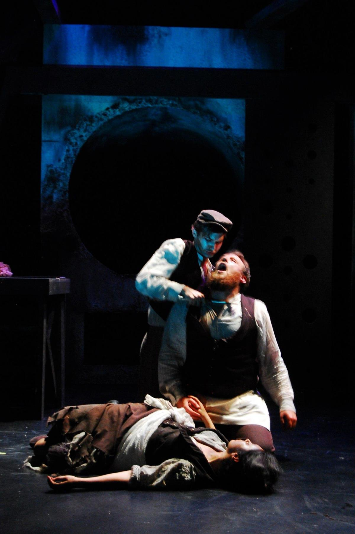 Kevin Singer, Adam Campbell, Michelle Jasso.    Scenic   Design by Maya Linke, Costume Design by Miriam Lewis, Lighting Design by Cathie Anderson, Prop Design by Kevin Pong.     Photography by Claire Rice.