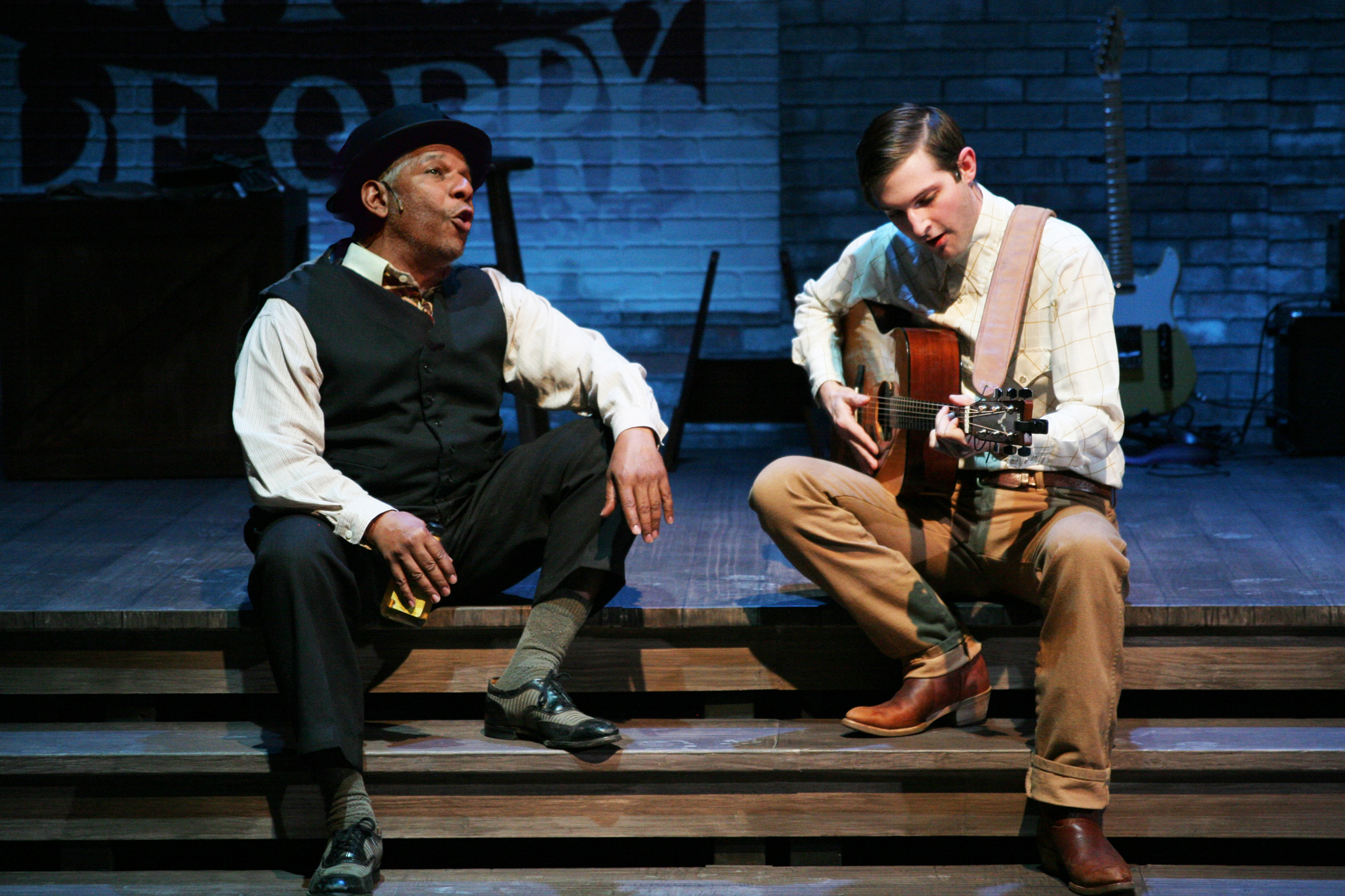 Dwight Mahabir, Kevin Singer.  Scenic Design by Liliana Duque Pineiro, Costume Design by Valera Coble, Lighting Design by Allen Willner, Sound Design by Lawton Lovely.  Photo by Terry Sullivan.