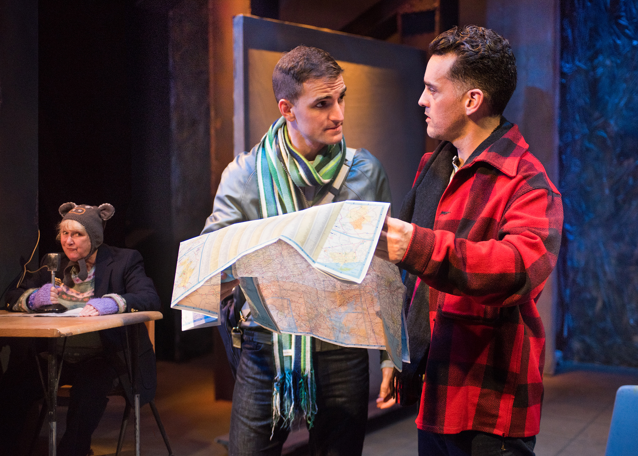 Loralee Windsor, JD Scalzo, Eric Kerr.  Scenic design by Devin Kasper, costume design by Jorge R. Hernandez, lighting design by Virginia Herbert, sound design by Sara Witsch, prop design by Daniel Yelen, and stage management by Kaitlin Rosen.  Photo by Lois Tema