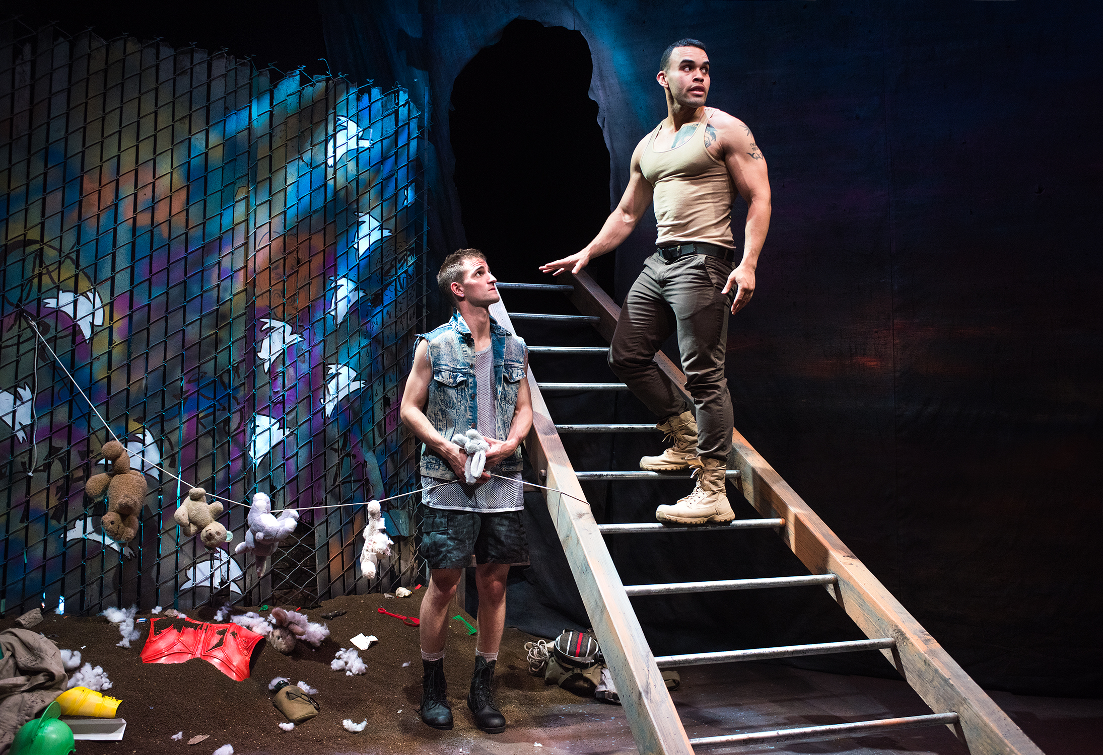 JD Scalzo, Ed Berkeley.  Scenic Design by Devin Kasper, Costume Design by Miriam Lewis, Lighting Design by Christian V. Mejia, Sound Design by Theodore J.H. Hulsker, Prop Design by Adeline Smith, Stage Management by Kaitlin Rosen.  Photo by Lois Tema.