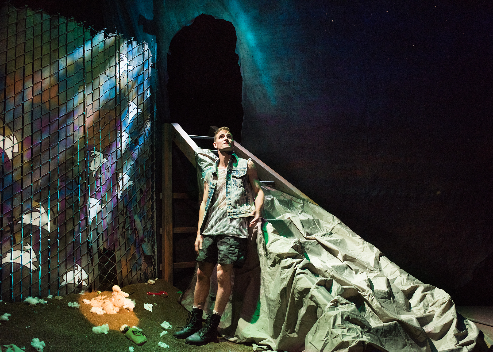 JD Scalzo.  Scenic Design by Devin Kasper, Costume Design by Miriam Lewis, Lighting Design by Christian V. Mejia, Sound Design by Theodore J.H. Hulsker, Prop Design by Adeline Smith, Stage Management by Kaitlin Rosen.  Photo by Lois Tema.