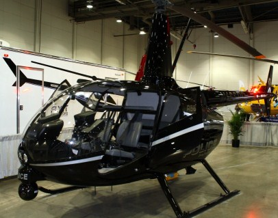 Fontana Police Departments Robinson R-66 Turbine powered helicopter on display at HAI Las Vegas March 2013.