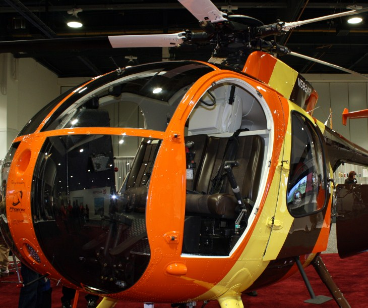 An MD500D Helicopter, a beautifully restored copy of the Magnum PI series helicopter.