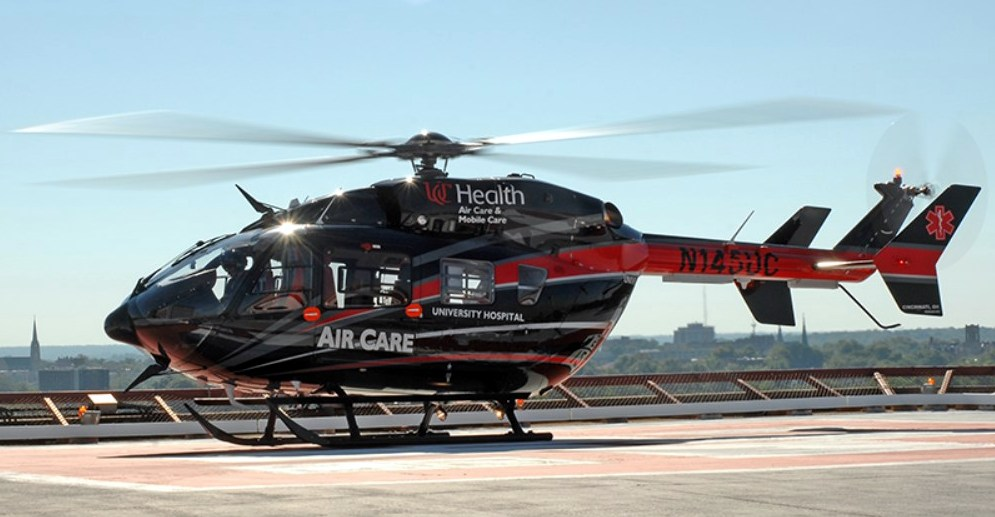 N145UC is the an EC 145 air ambulance based out of University Hospital, Cincinnati OH. Photo- Metro Aviation
