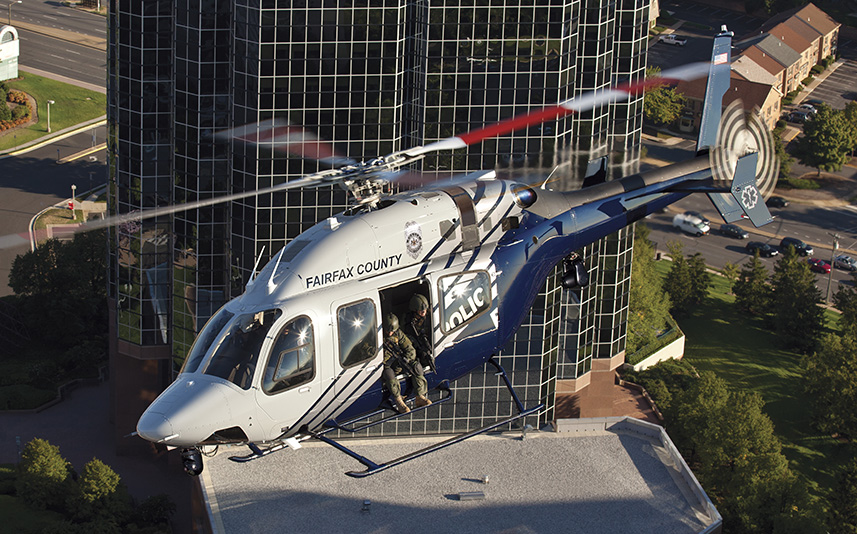 This Fairfax County Va Bell 429 provides a visual perspective of the light twin operating in a police tactical role. Photo- Bell Helicopters