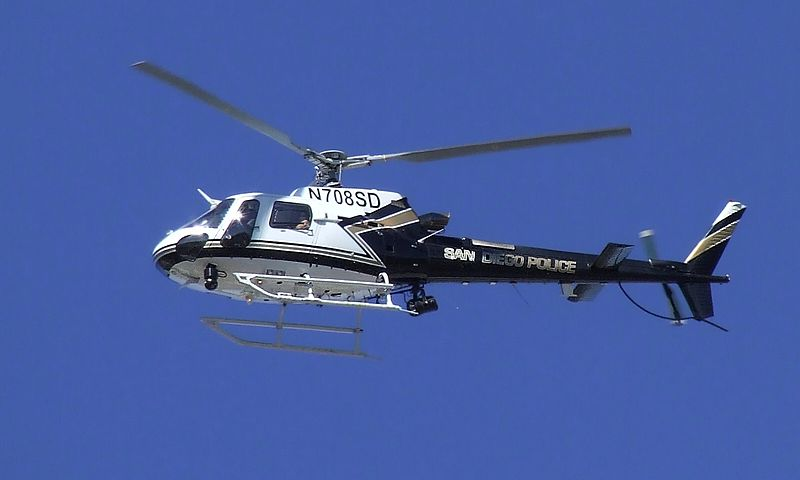 San Diego Police AS350B3 helicopter flying on patrol.The San Diego Police Air Support Unit (also known as ABLE- an acronym for Airborne Law Enforcement) currently operates four Eurocopter AS350 B3 helicopters out of Montgomery Field Airport.  The unit is comprised of approximately 13 sworn officers which includes two sergeants.