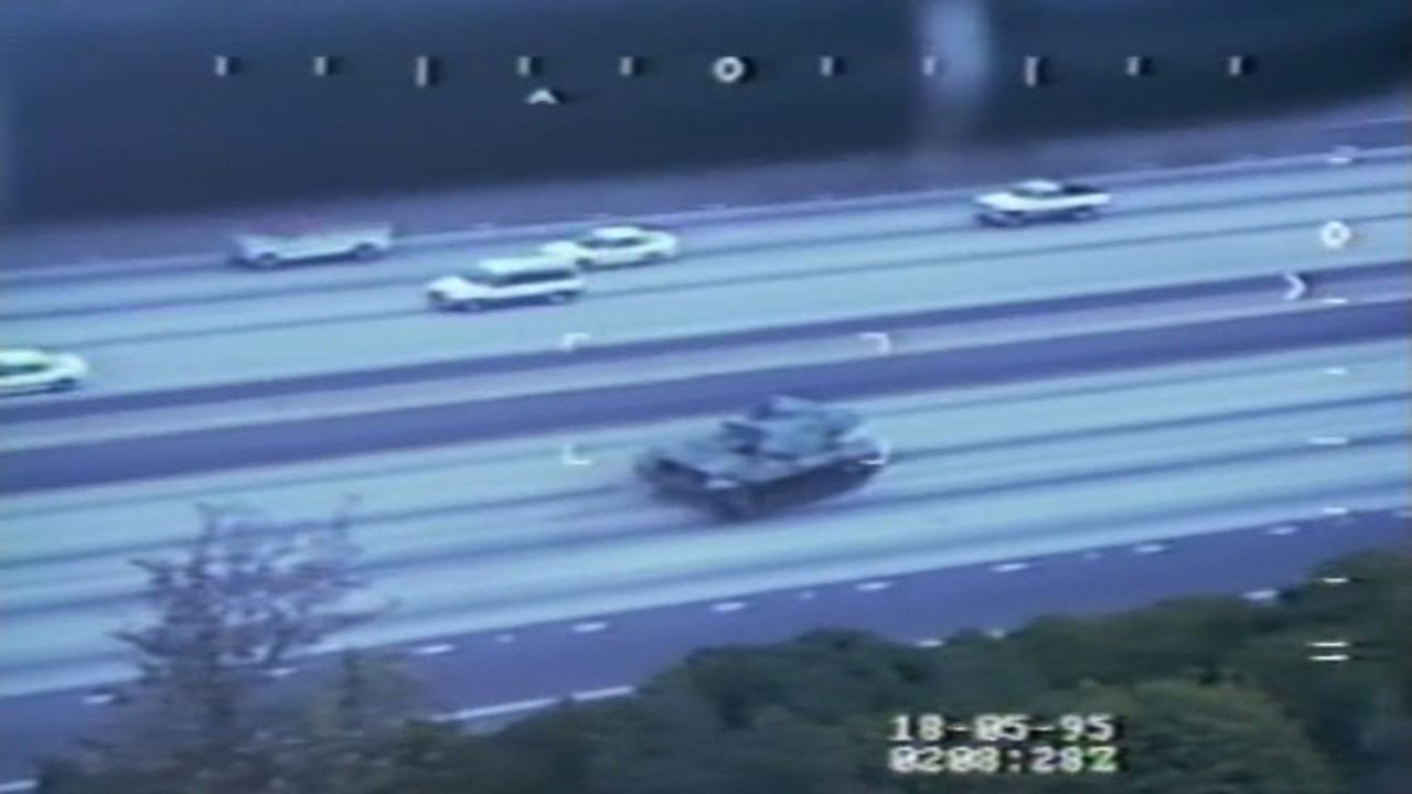 This image is from the San Diego Police Helicopter onboard camera taken on May 17, 1995 of a stolen M60 Army National Guard tank rampaging through the streets and freeways of San Diego.