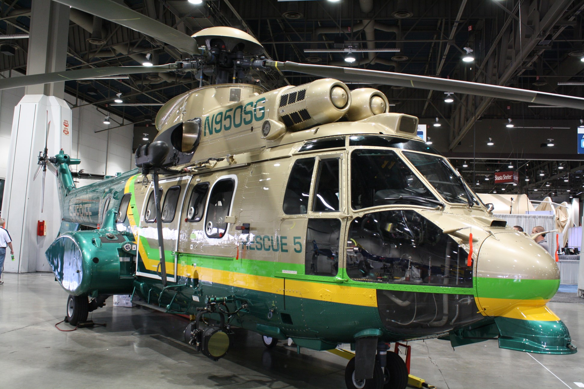 An LASD Aero Bureau AS332L1 Super Puma rescue helicopter on display at HAI Las Vegas, 2013. Photo by Darryl Kimball