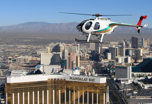 Another MD530F operated by Las Vegas Metro Police Department on patrol over the Mandalay Bay in Las Vegas. Photo Credit LVMPD
