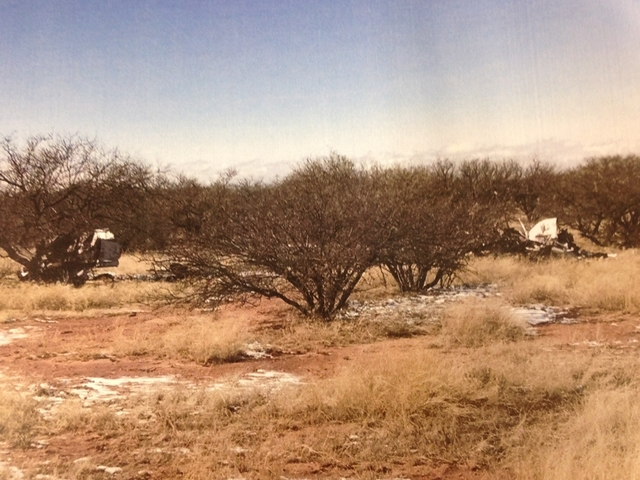 A daylight photo of the helicopter crash scene released by the Cochise County Sheriff's Office.