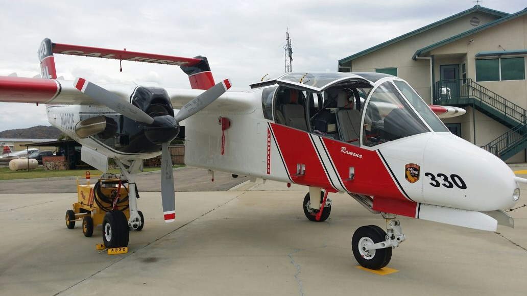 Cal-Fire's OV-10 Bronco sets ready to launch on the tarmac at the Ramona Fire Base